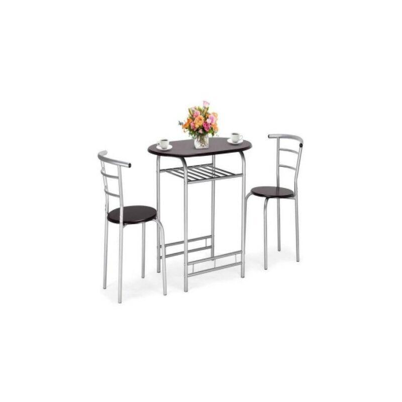 DAZHOM ®Combinaison table à manger et chaise 1 table + 2 chaises Combinaison table et chaise de ménage trois pièces tube d'argent noyer noir - Dazhom