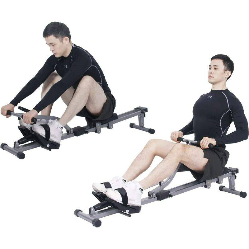 DlandHome Matériel de sport Rameur d'appartement Pliable, appareil de Fitness avec écran LCD, Résistance Réglables, pour Un Usage Domestique,