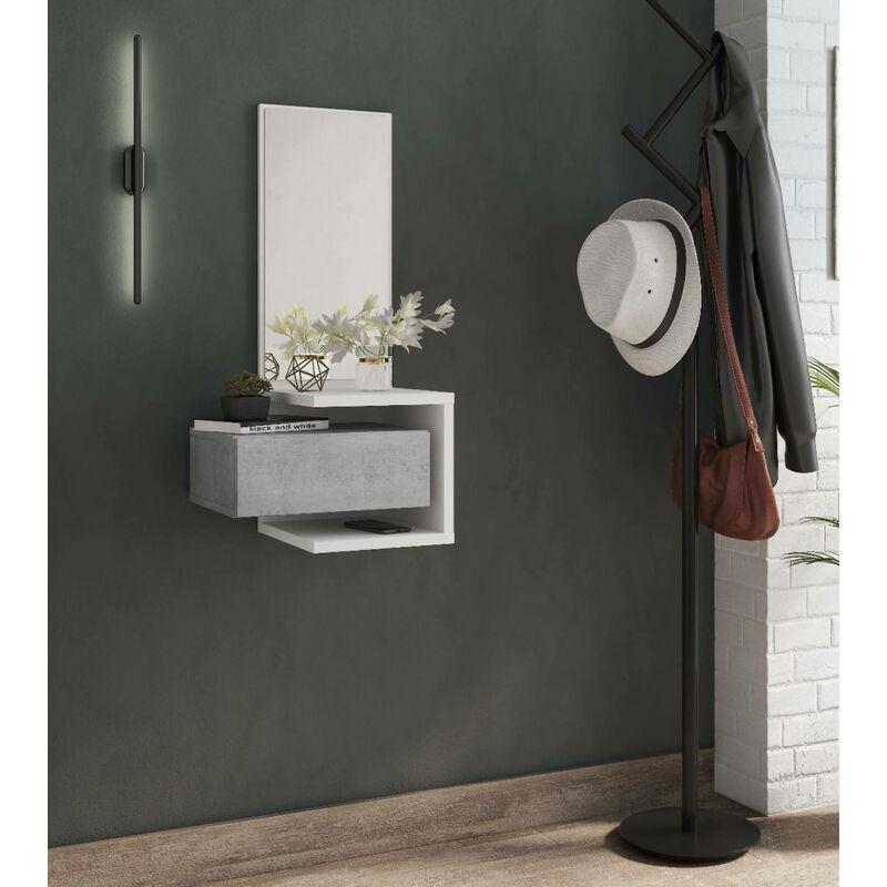 Dmora Meuble d'entrée avec miroir, entrée pour hall avec tiroir et étagère, Vide-poche pour petits appartements, 43x32h90 cm, Couleur Blanc et Béton