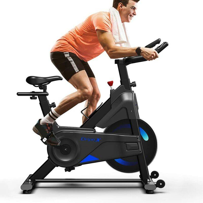 Dripex Vélo d'Appartement Vélo Spinning Ultra-Silencieux avec Capteur Cardiaque, écran LCD, résistance réglable, Porte-Bouteille Appareil Fitness