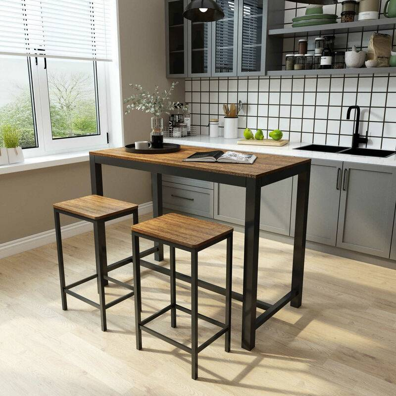 MEERVEIL Ensemble Table et 2 Tabourets Style de Bar en Fer et Bois-Table et Chaises pour Cuisine, Bar, Café, Grain Foncé-Meerveil