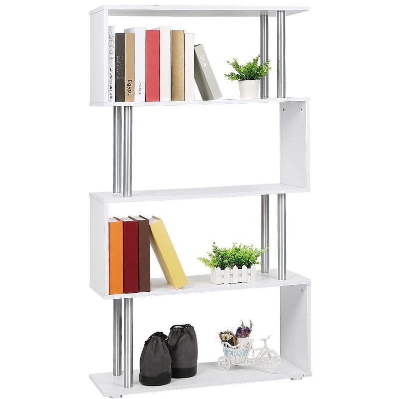 Oobest - Etagere armoire de rangement pour livres en panneaux de particules en forme de s blanc - Blanc