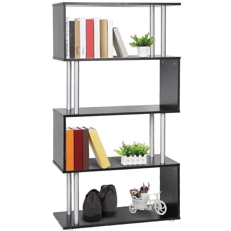 Oobest - Etagere armoire de rangement pour livres en panneaux de particules en forme de s noir - Noir