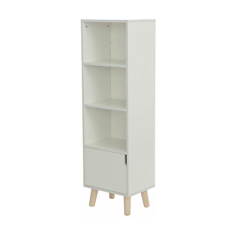 JEOBEST Étagère armoire meuble design bibliothèque 40*30*130cm bois de chêne massif - Blanc - Blanc