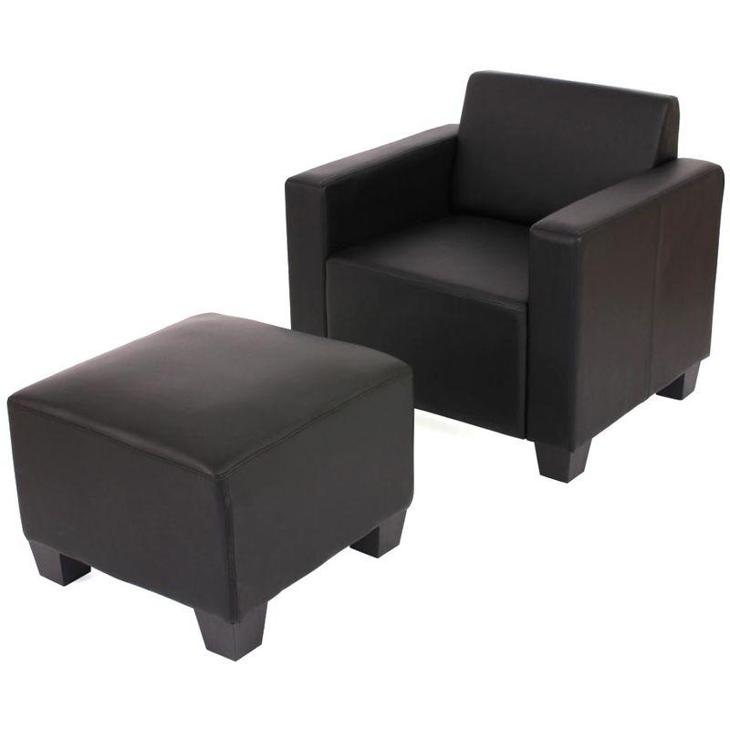 HHG Fauteuil salon/lounge Lyon avec pouf, simili-cuir, noir