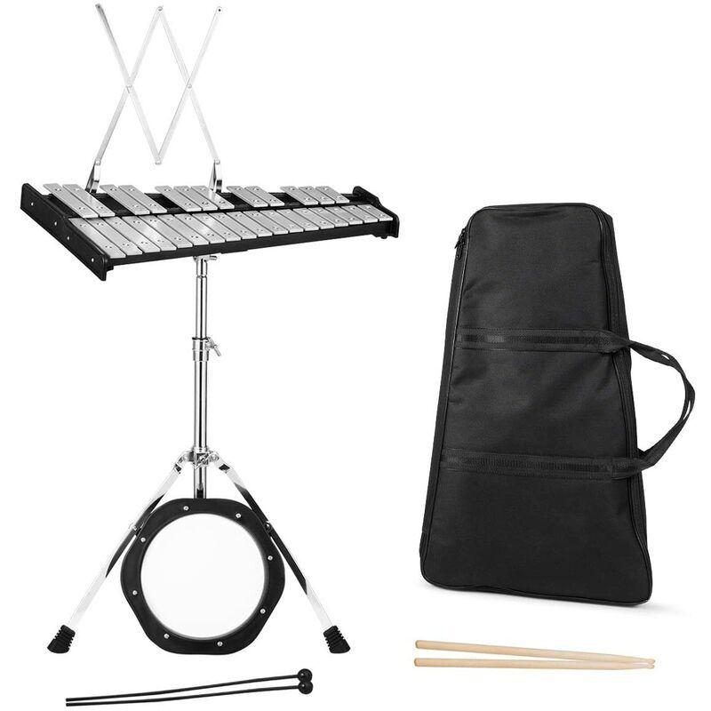 GOPLUS 30 Notes Glockenspiel Xylophone Professionnel avec Support de Placage en Métal Réglable et Pliable, Glockenspiel avec Cadre en Bois et Sac de
