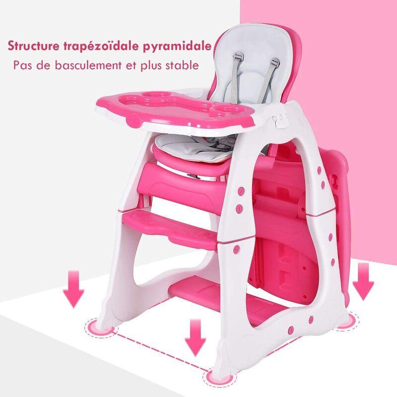 GOPLUS Chaise Haute Bébé Convertible 3 en 1 avec Table et Chaise Détachables, Chaise ?volutive 6-18 Mois avec Ceinture à 5 Points, Plateau Réglable