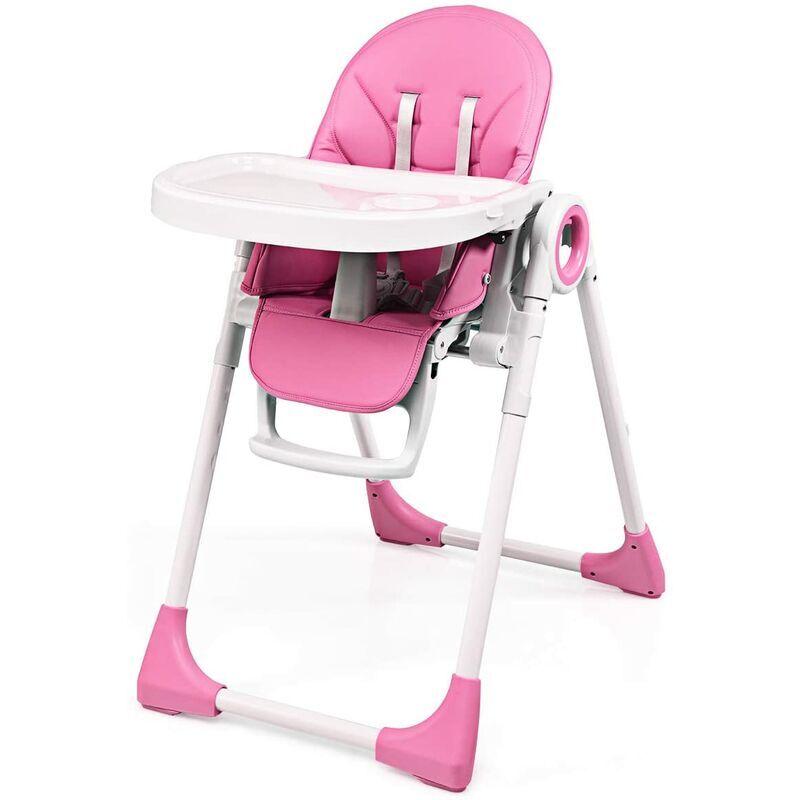GOPLUS Chaise Haute Evolutive pour Bébé 3 en 1, Réglable en Hauteur et Pliable, Ceinture de Sécurité à 5 Points d'Attache pour Bébés 6 Mois + Charge
