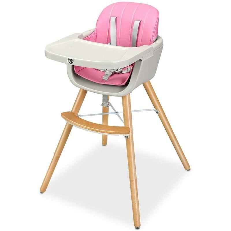 GOPLUS Chaise Haute pour Bébé Evolutive,Chaise haute Multi-Fonctions en Bois+Plastique 2 en 1 51CM/65CM/83CM,Ceinture de Sécurité à 5 Points,Plateau