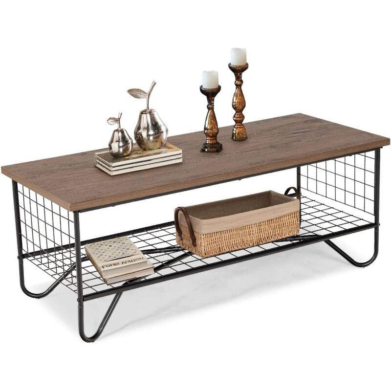 GOPLUS Table Basse à 2 Couches de Stockage Ouvert, Table D'appoint Industrielle, pour Salon, Chambre et Bureau, 105 x 50 x 42CM - Goplus