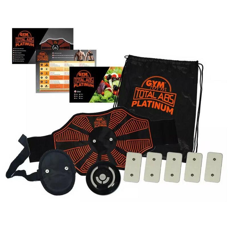 GYM FORM Gymform Total ABS Platinum - Électrostimulation musculaire, 9 programmes et 10 niveaux - Fonctionne avec pile - Noir et Orange
