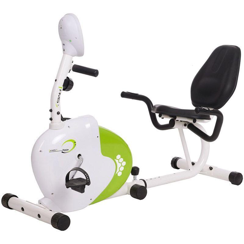 HUCOCO HMSPORT - Vélo d'appartement horizontal - Cardio/Fitness - Résistance magnétique - Vélo d'intérieur - Mesure du pouls - Blanc/Vert