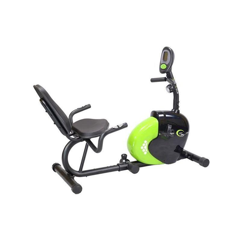 HUCOCO HMSPORT - Vélo d'appartement magnétique horizontal - Cardio/Fitness - Vélo d'intérieur - Ordinateur + Mesure du pouls - Noir/vert