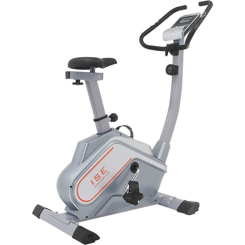 ISE Vélo d'appartement Vélo d'entraînement Magnétique Fitness Gym Bike Vélo d'intérieur avec console (gris clair) SY-8602 - ISE