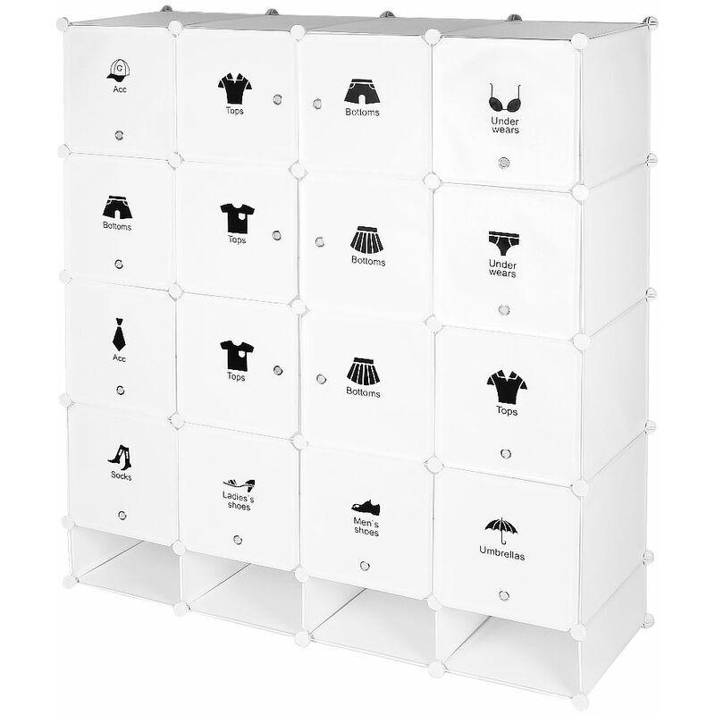JEOBEST ®Armoire étagère modulable en plastique blanc casiers Penderies Rangement Armoire Penderie Placard - Blanc - Jeobest