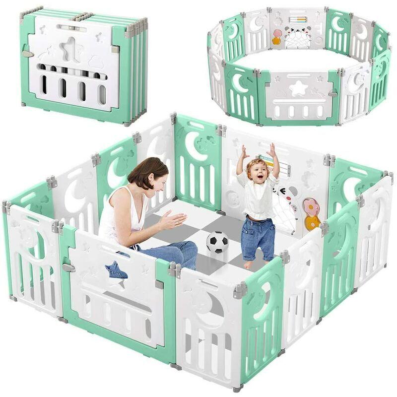 KEEPBUYING KEEP Parc Bebe en Plastique 14 elements Porte Barri¨¨re Securite Enfant Pliable Vert et Blanc