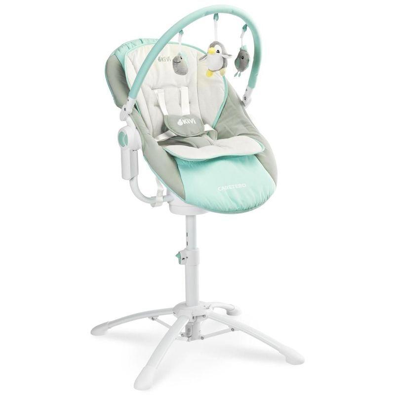 HUCOCO KIMMI - Chaise haute évolutive 3en1 transat + balancelle bébé dès la naissance - Dossier inclinable + Musique + Vibrations - Bleu