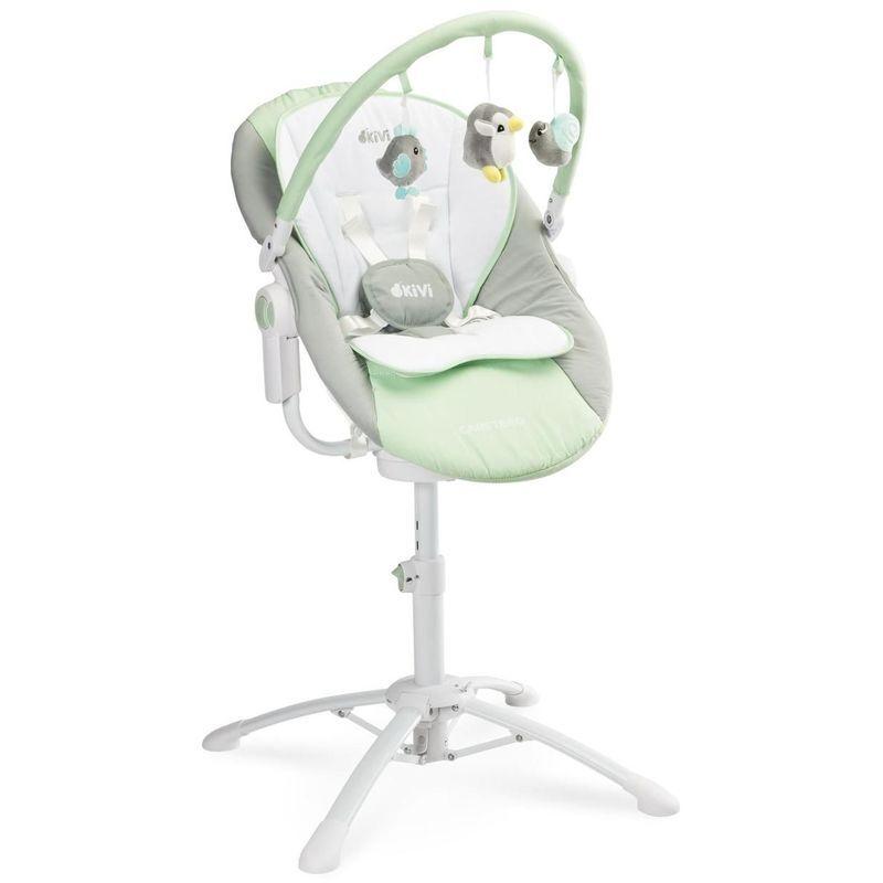 HUCOCO KIMMI - Chaise haute évolutive 3en1 transat + balancelle bébé/enfant 0+ jusqu'à 15 kg - Inclinable + Musique + Vibrations - Menthe