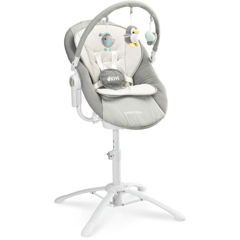 HUCOCO KIMMI - Chaise haute évolutive 3en1 transat + balancelle bébé - Dès la naissance - Musique + Vibrations - Gris