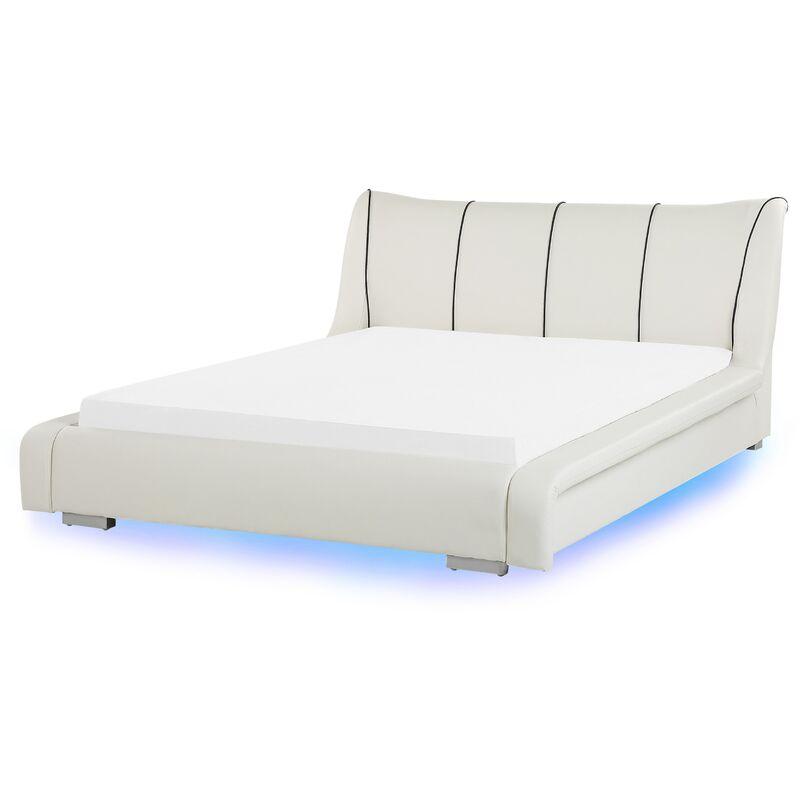 BELIANI Lit 160 x 200 cm en cuir blanc avec LED NANTES