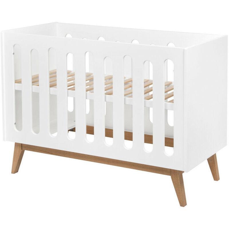 LES TENDANCES Lit bébé évolutif 60x120 cm laqué blanc et pieds hêtre Nandy