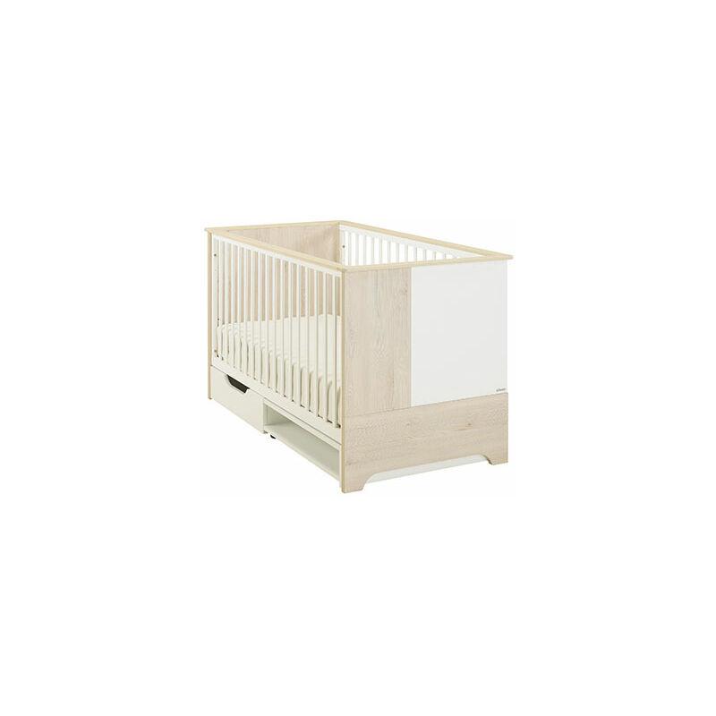 M&S Lit bébé évolutif + tiroir en pin blanchi et blanc - BYRON