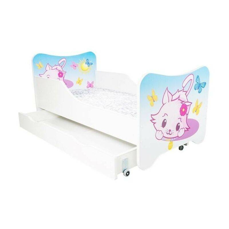 LES TENDANCES Lit enfant à tiroir little kitty 80x160