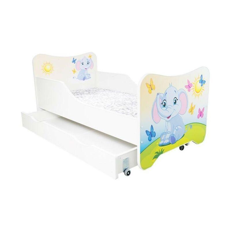 LES TENDANCES Lit enfant à tiroir éléphanteau 80x160