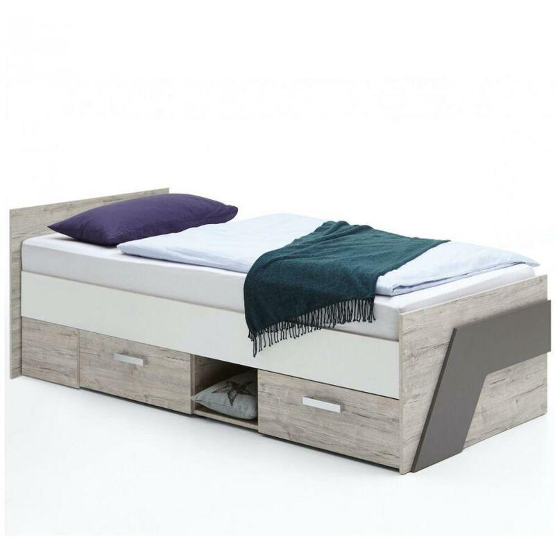 INSIDE75 Lit NANTES coloris chêne sable, gris lava et blanc 2 tiroirs 1 plateau fixe - marron