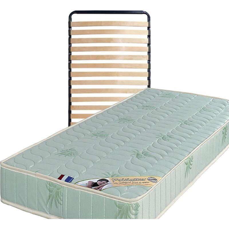 KING OF DREAMS Lot de 2 Matelas 100x200 + Sommiers + pieds + Protèges Matelas Offerts Mousse Poli Lattex Indéformable - 19 cm - Ferme - Tissu à l'Aloe Vera