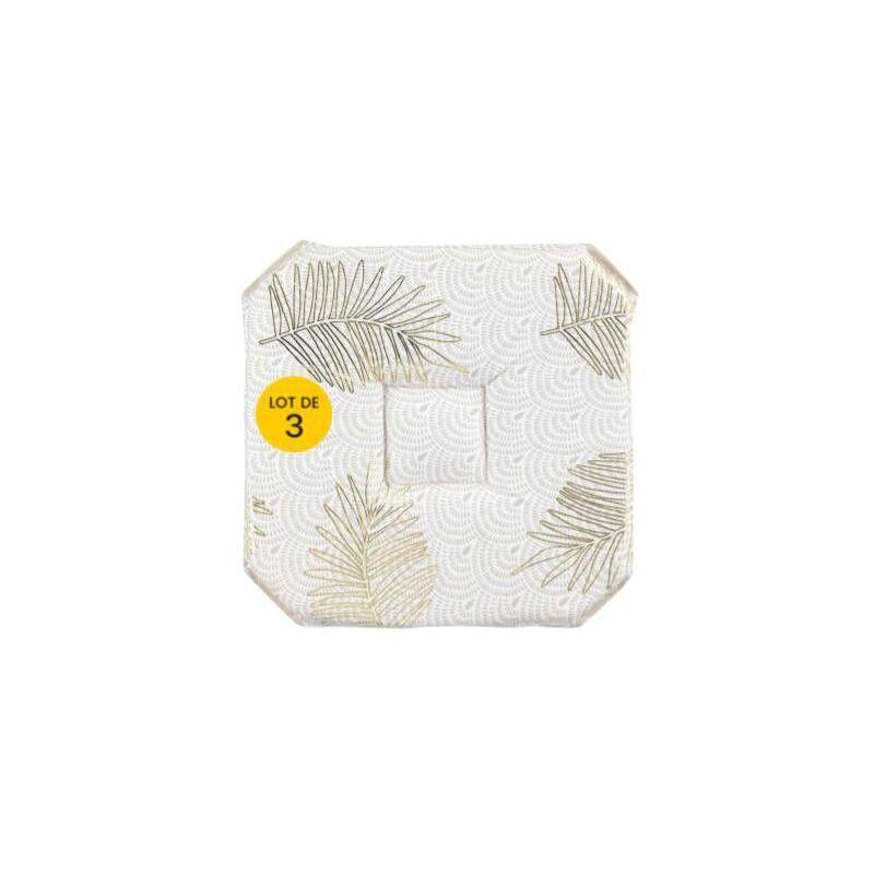 Aucune Marque - Lot de 3 Galettes 4 rabats 36 x 36 x 3.5 cm polyester imprimé metallisé Sunny gold