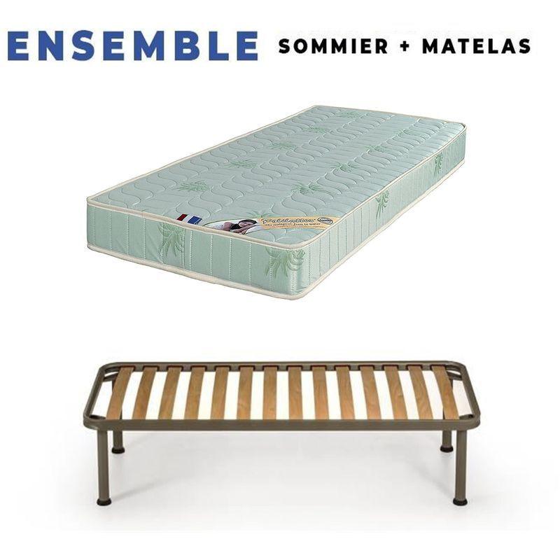 KING OF DREAMS Matelas 100x200 + Sommier + pieds Offerts Mousse Poli Lattex Indéformable - 19 cm - Ferme - Tissu à l'Aloe Vera - OEKO-TEX STANDARD 100 sans CFC