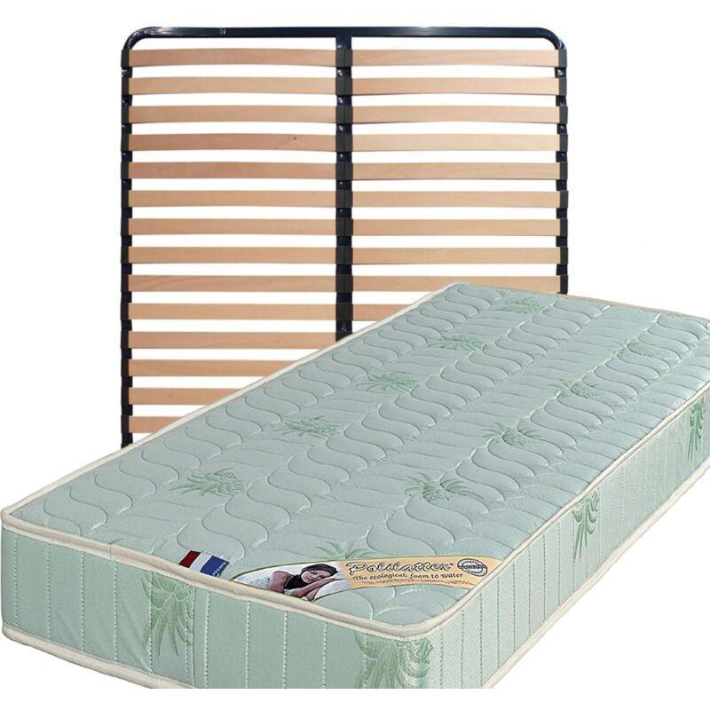 KING OF DREAMS Matelas 180x200 + Sommier Démonté + pieds Offerts Mousse Poli Lattex Indéformable - 19 cm - Trés Ferme - Tissu à l'Aloe Vera - OEKO-TEX STANDARD 100