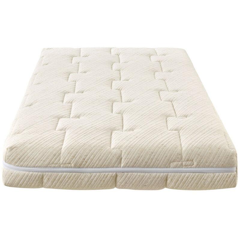 Hbedding - Matelas bébé 60X120 cm Nature - Tissu avec coton bio et lin - déhoussable - 20 zones de confort - Epaisseur 12 cm