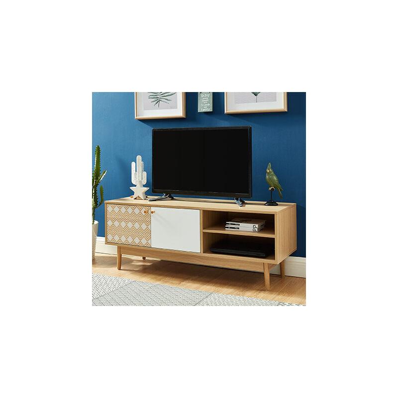 M&s - Meuble TV 2 portes 120x39,5x45,5 cm chêne et blanc - BENTO