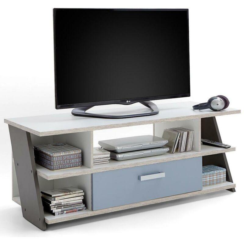 Inside75 - Meuble TV NANTES coloris chêne sable, gris lava, blanc et bleu denim 1 tiroir 1 plateau fixe - marron