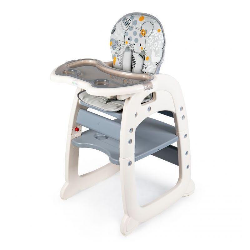 HUCOCO MSTORE - Chaise haute 2en1 évolutive bébé/enfant - À partir de 6 mois - Petite chaise + table - Harnais 5 points - Gris
