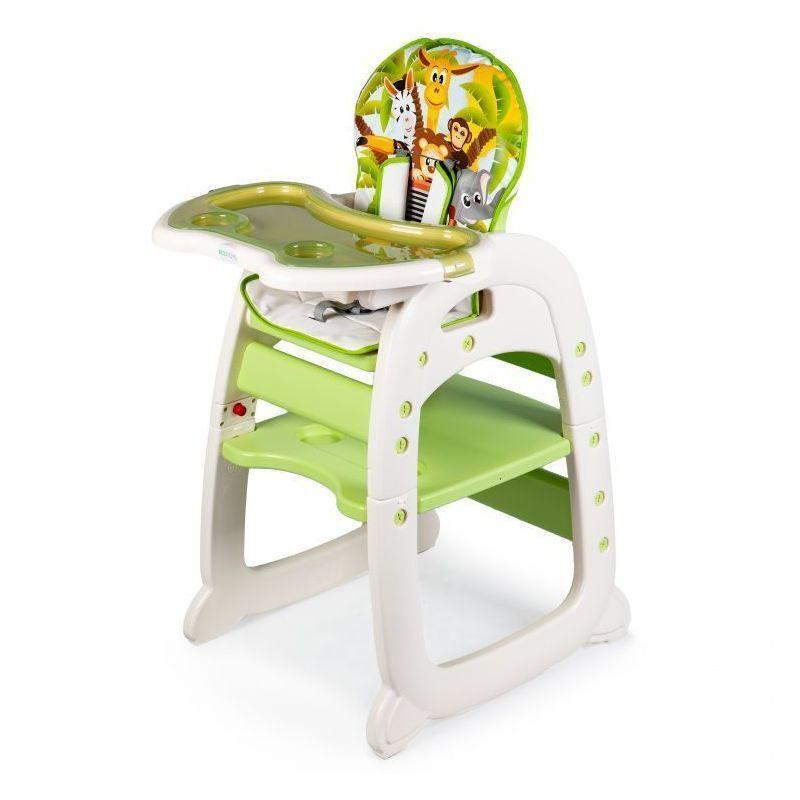 HUCOCO MSTORE - Chaise haute 2en1 évolutive bébé/enfant - À partir de 6 mois - Petite chaise + table - Harnais 5 points - Vert