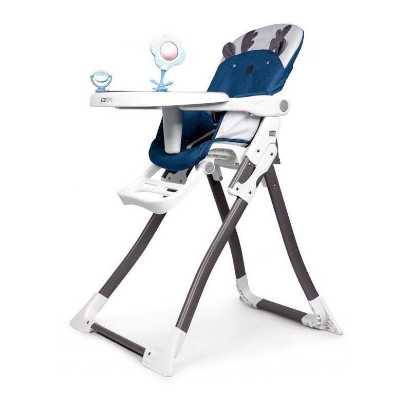 HUCOCO MSTORE - Chaise haute enfant/bébé - 6 À 36 MOIS - Harnais de sécurité à 3 points + Plateau amovible - Pliage simple - Bleu foncé