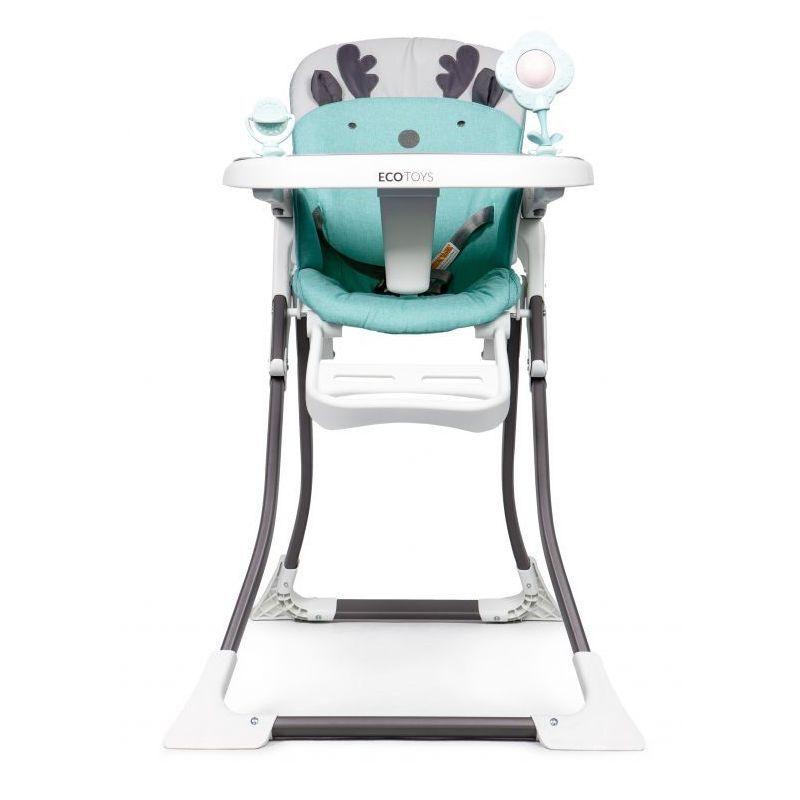 HUCOCO MSTORE - Chaise haute enfant/bébé - 6 À 36 MOIS - Harnais de sécurité à 3 points + Plateau amovible - Pliage simple - Turquoise