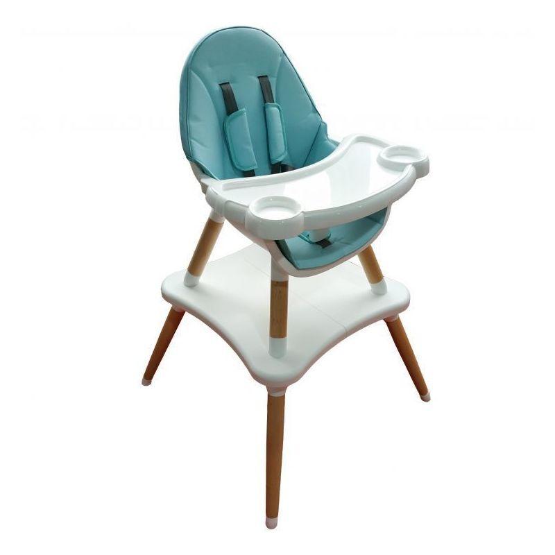HUCOCO MSTORE - Siège enfant chaise haute 2en1 table + chaise bébé/enfant - A partir de 6 mois - Pieds bois + éco-cuir - Bleu