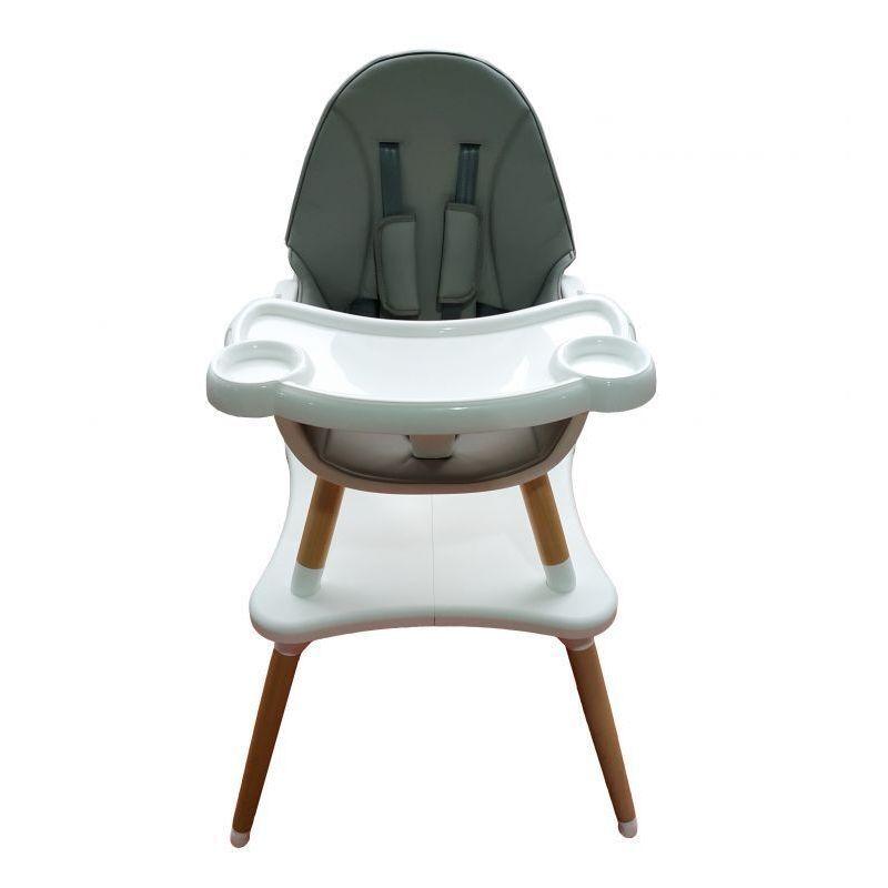HUCOCO MSTORE - Siège enfant chaise haute 2en1 table + chaise bébé/enfant - A partir de 6 mois - Pieds bois + éco-cuir - Gris
