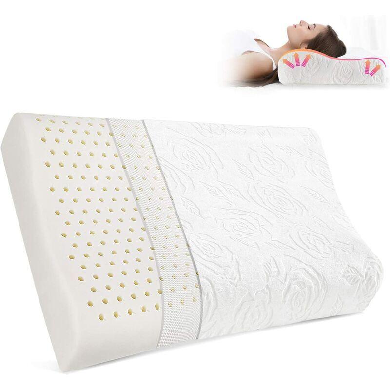 BRIDAY Oreiller cervical en latex pour les douleurs au cou, Oreillers contour pour dormir, Oreiller orthopédique ergonomique avec taie d'oreiller lavable de