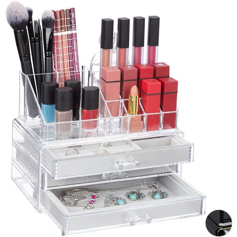 RELAXDAYS Organiseur cosmétique, 2 pièces, avec coffret bijoux, 3 tiroirs, en plastique, HlP 18,5x23,5x5 cm, transparent