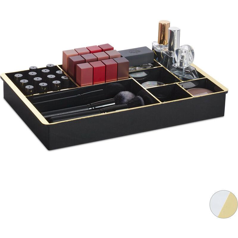 RELAXDAYS Organiseur cosmétique, pour tiroirs, système de rangement, 8 compartiments, HLP: 5 x 35 x 22 cm, noir/doré
