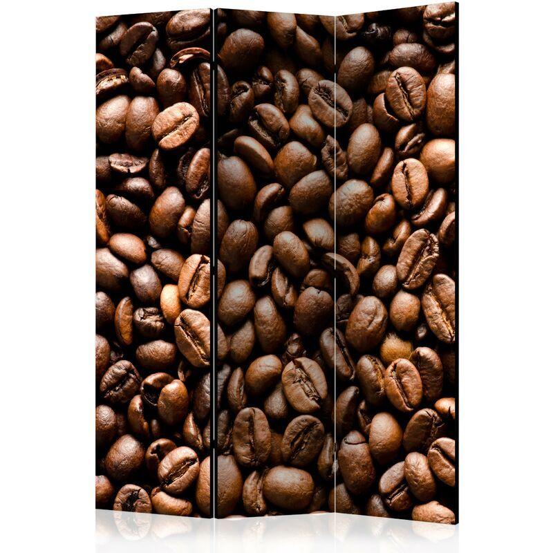 DéCOSHOP26 Paravent 3 volets panneaux cloison séparateur de pièce pliable recto verso Grains de café torréfiés 135x172 cm - or