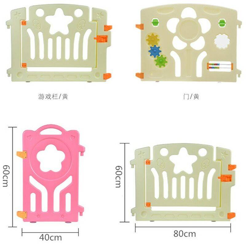 KEEPBUYING Parc Bebe en Plastique 12 + 2 Panneaux d¡¯Activite et Porte Barri¨¨re Securite Enfant Maison 1,6 M * 1,6 M
