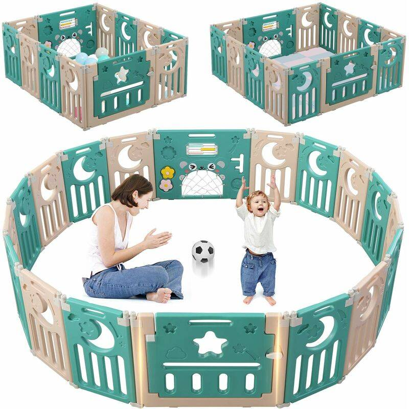 KEEPBUYING Parc Bebe Barri¨¨re Securite Plastique Pilable Enfant Protection Porte Espace Baby 12 elements avec 2 Panneaux d¡¯Activite Vert