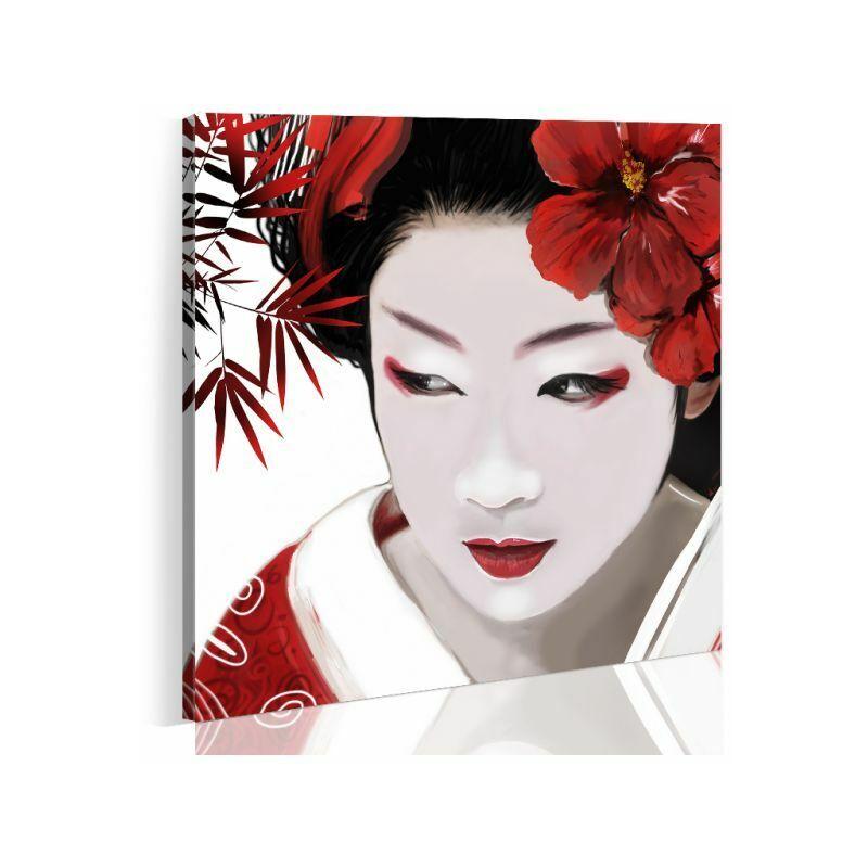 Paris Prix - Tableau Imprimé geisha Japonaise 80 X 80 Cm