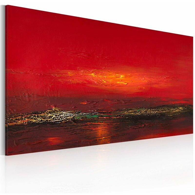 PARIS PRIX Tableau Peint à La Main coucher De Soleil Sur La Mer Rouge 60x120cm - Paris Prix